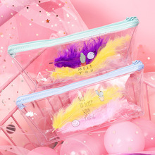 Creative transparent pencil case cute cartoon simple feather decorated PVC zipper Korean stationery