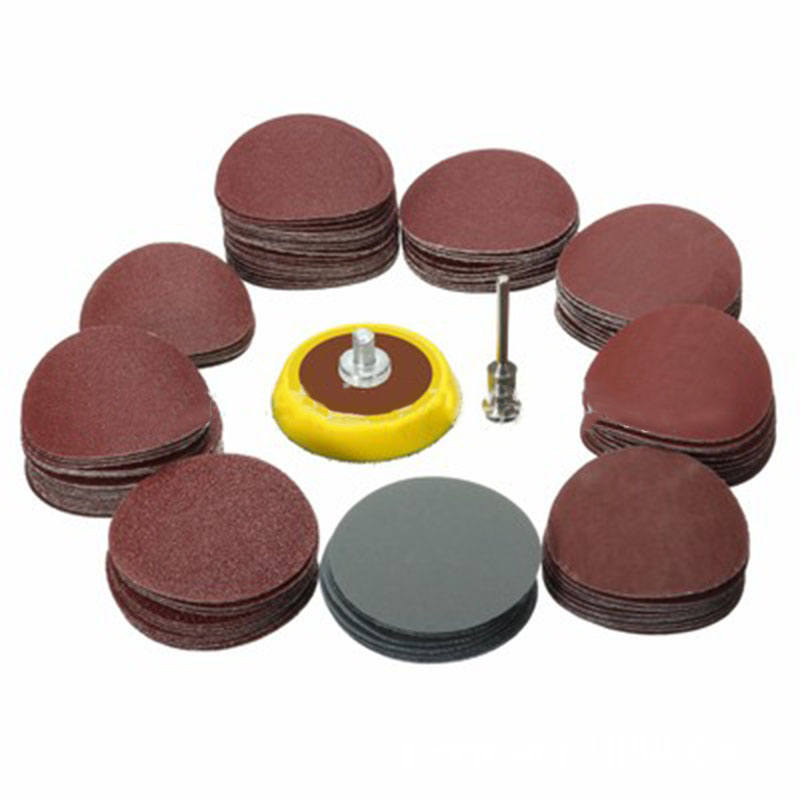 100Pc 25mm Grinding Sanding Disc Sand Paper Hook Loop Sander + M6 Drill Adapter