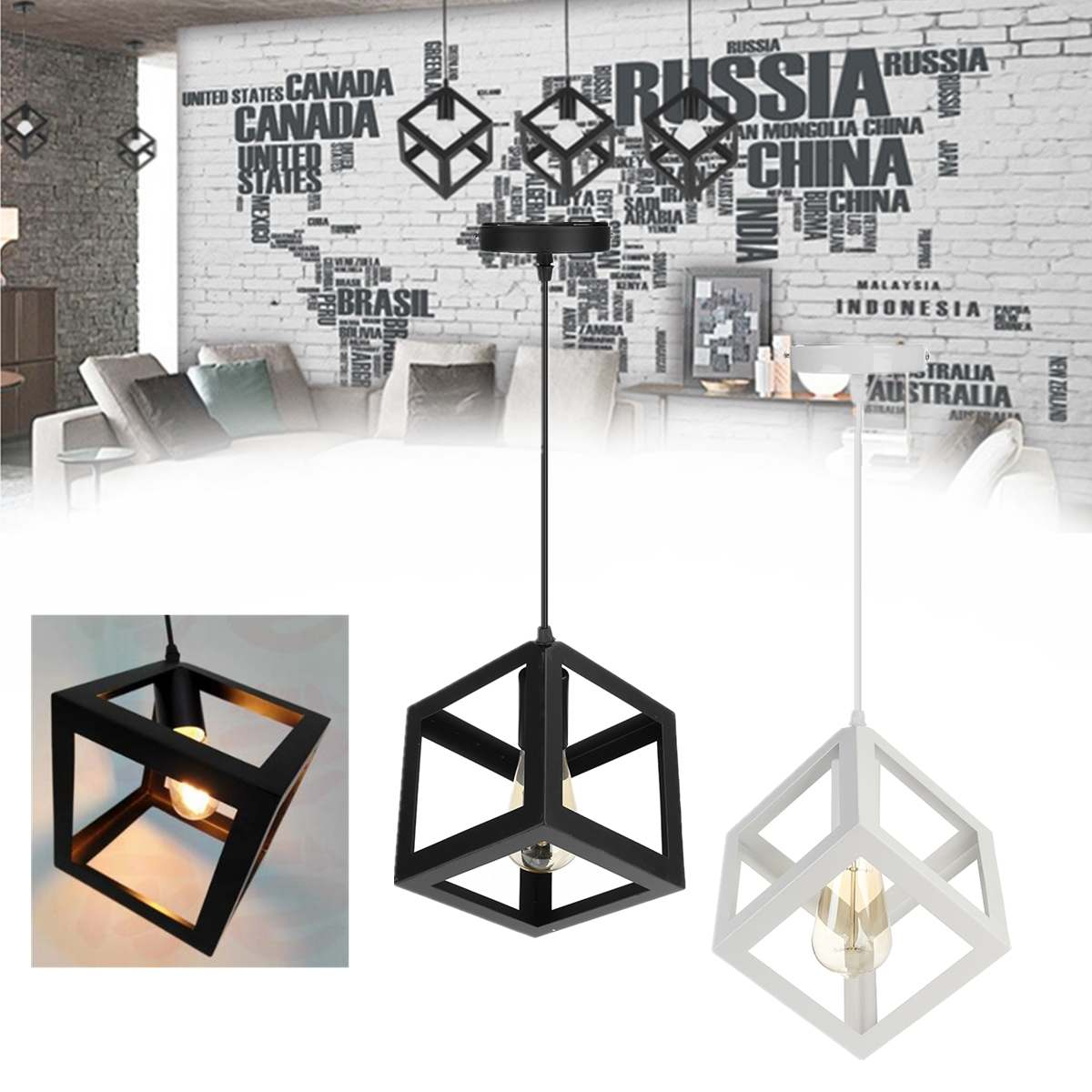 Vintage Industrial Iron Ceiling Light 3D Cube Pendant Lamps Fixture Pendant Lights Modern Black Cage Pendant Lights