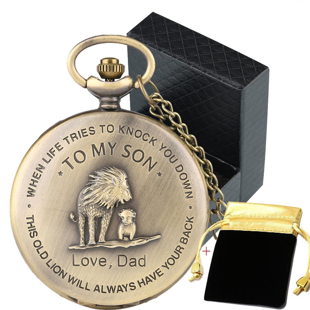 To My Son, Love Dad Series Children Necklace Pocket Watch Quartz Movement Vintage Bronze Pocket Clock Birthday Graduation Gifts