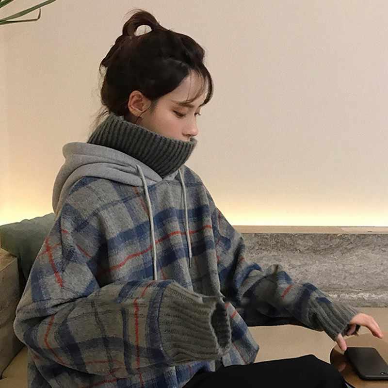 겨울 따뜻한 캐주얼 따뜻한 후드 가짜 두 조각 여성 긴 소매 터틀넥 풀오버 니트 여성 스웨터