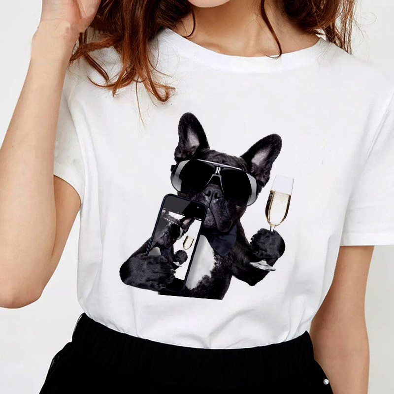 Harajuku Thin Section White Female T-shirt Tops Clothing 2019 New Summer Humanized Dog T Shirt Women Personality Fashion Tshirt