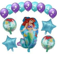 1 conjunto dos desenhos animados sereia ariel disney princesa folha balões chuveiro do bebê festa de aniversário decorações crianças brinquedos menina 10 polegada látex bola