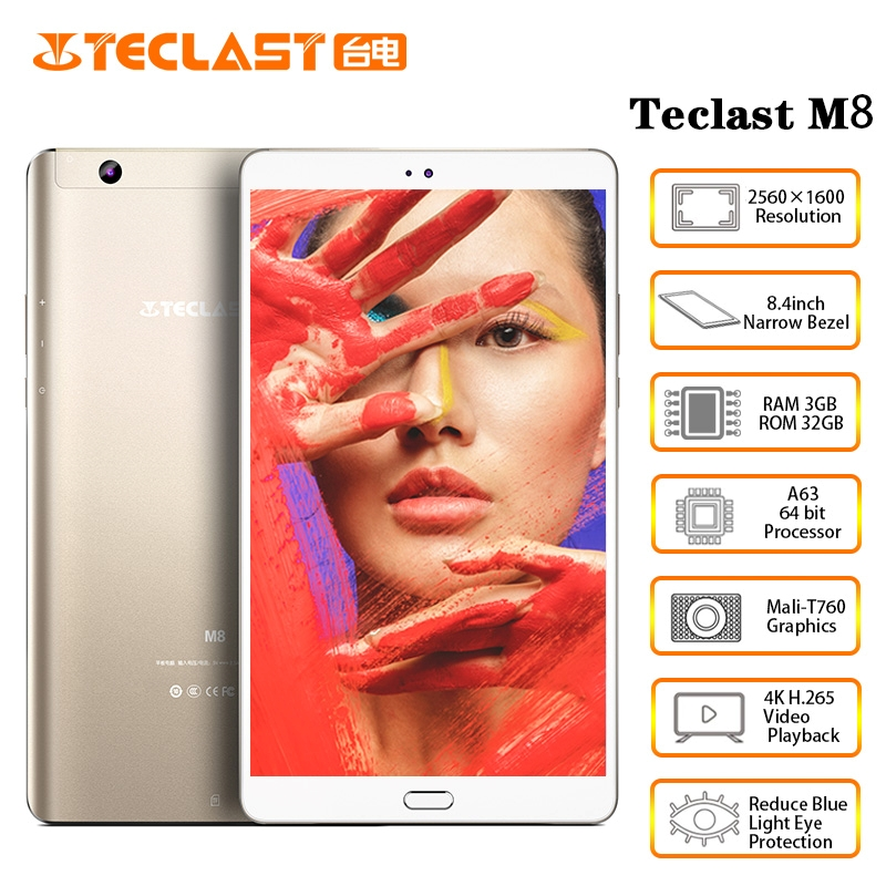 Teclast M8 8.4 Inch Android Tablet  2560x1600 Quad Core 4K Video G-Sensor Tablets 3GB RAM 32GB ROM Wifi Dual Camera
