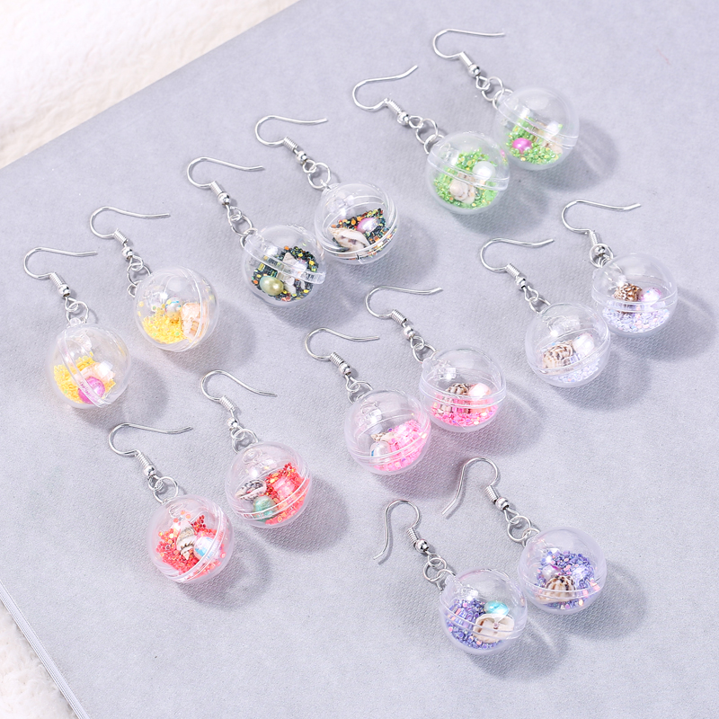 1pair Fashion Craft Resin Gummy  Ball Withshell  Drop Earrings For Women Japan/Korean Fashion Jewelry Wholesale