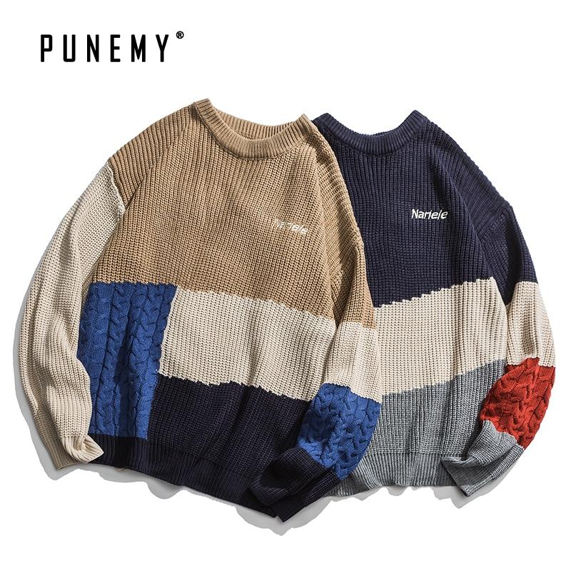 Men Sweaters Retro Patchwork Block Color Acrylic Oversize Hip Hop Streetwear Harajuku O-neck Autumn Pullover New Men's Sweater