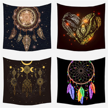 Dreamcatcher Print Tapestry Indian Feathers Polyester Mandala Wall Hanging Bohemian Decor Mystery Witchcraft