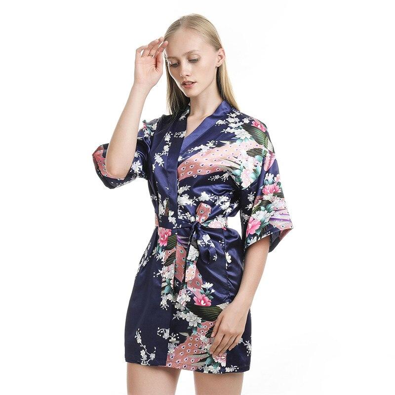 Women's Sleepwear Summer Mini Kimono Robe Lady Rayon Bath Gown Yukata Nightgown Sleepwear Sleepshirts Size S-XL