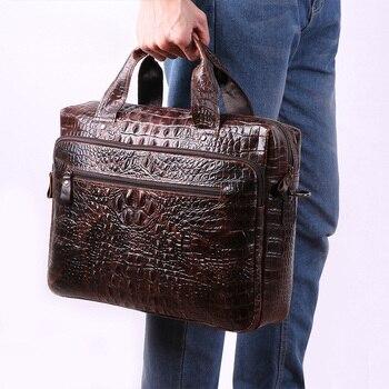 Man Handbag Crocodile Grain 15.6 Inch Computer Bag Male Shoulder Office Bags Laptop Bag Maletines-hombre Men's Briefcase