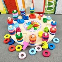 Teaching Math-Juguetes Educativos de madera para niños, puzles con reloj Digital geométrico, juguetes a juego