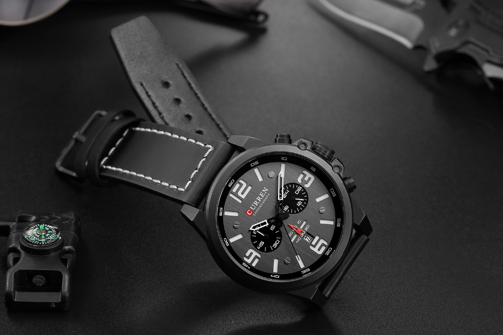 H4ad1b181f13f41deb44fcddcd7146983s Men watch Sport Quartz Wrist Watch Man Casual Genuine Leather Waterproof Chronograph Watch Male Wristwatch Gifts For Men