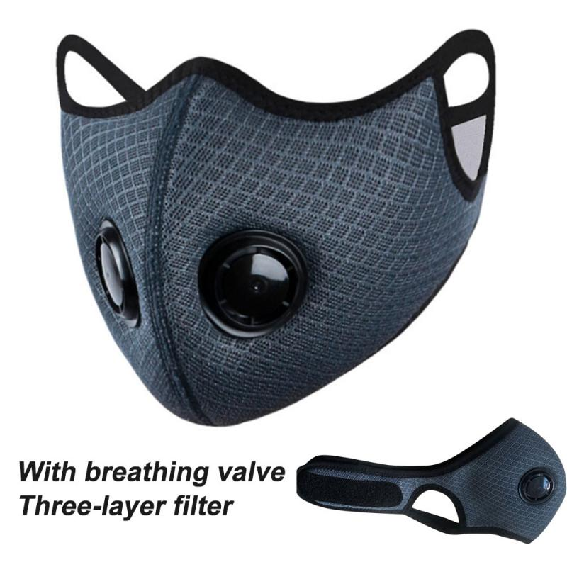 Outdoor Bicycle Riding Mask Cycling Respirator Face Shield With Double Breath Valve Breathable Safety Mask With Filter