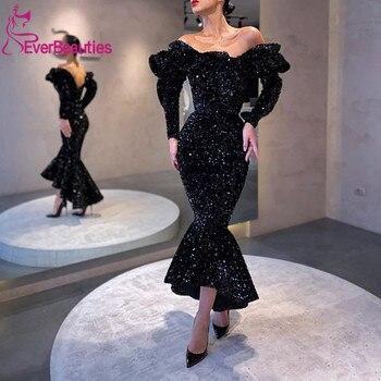 Black Mermaid Long Sleeves Evening Dresses 2020 Sequins Formal Dresses Abiye Gece Elbisesi Robe De Soiree formal dresses mermaid evening dress long 2019 backless robe de soiree abiye gece elbisesi