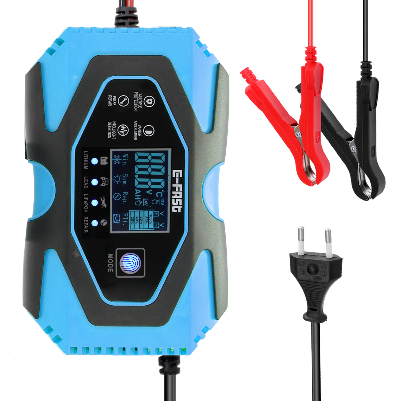 Автомобильное зарядное устройство для аккумулятора мотоцикла 12V8A-24V3A, автоматическое импульсное Ремонтное устройство для зарядки литиевой...