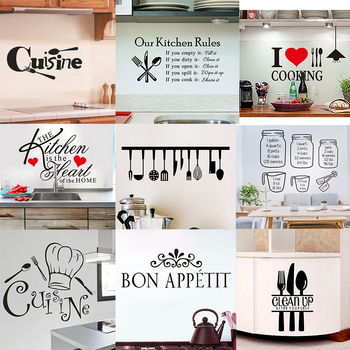 Kitchen Wall Stickers Vinyl Wall Decals for Kitchen English Quote Home Decor Art Decorative Stickers PVC Dining Room For Bar PVC 1