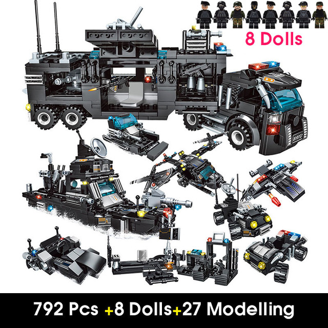 Designer City Police Station Building Blocks Compatible Ingly Weapons City SWAT Team Truck Blocks Educational Toys For Boys