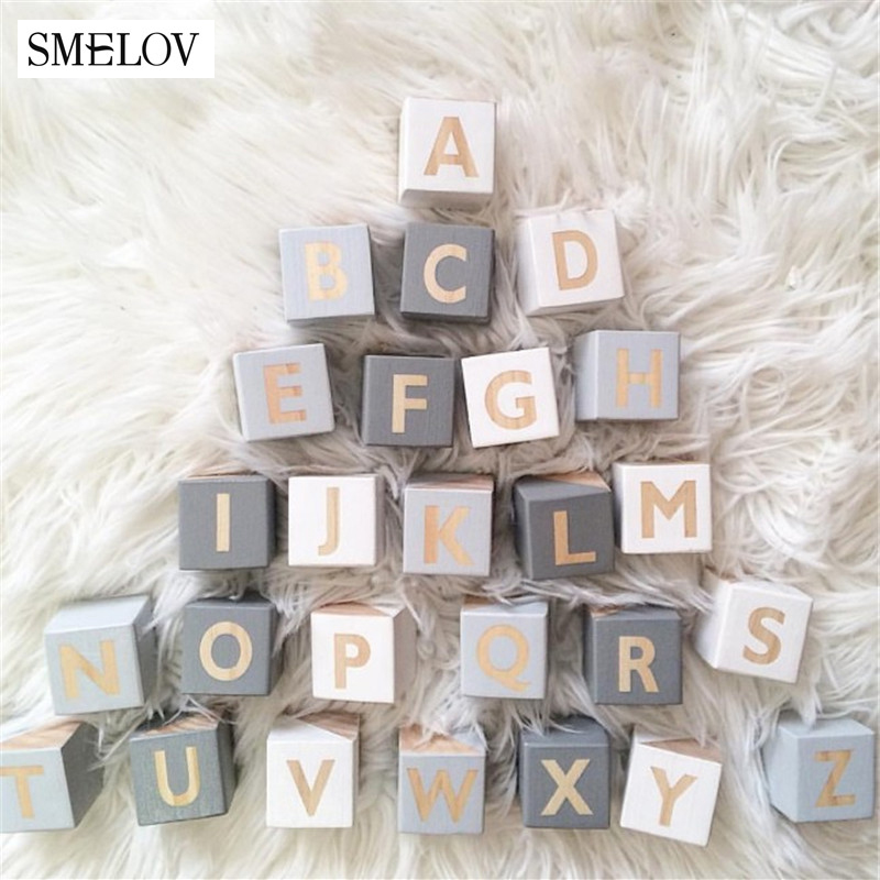 5x5cm Mini Wooden Letters Alphabet Number Blocks DIY Wood Educational Toys For Babies Kids Baby Room Wedding Home Decor Craft