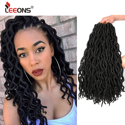 Leeons Hot Selling Goddess Faux Locs Crochet Curly Braids Hair Synthetic Ombre Dreadlocks Nu Locs Afro Hair Extension For Women