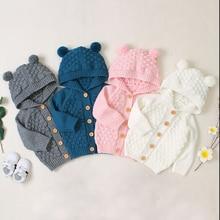 Осенне-зимняя одежда для малышей; теплое пальто для маленьких мальчиков и девочек; свитеры с капюшоном и объемными ушками; вязаная куртка; верхняя одежда