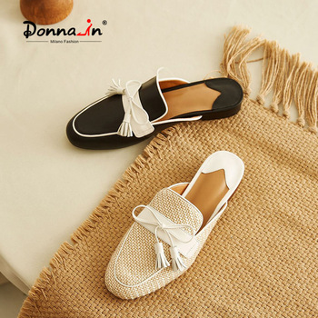 Donna-in Weave Fringe Mules Shoes Women Flat Slippers Calf Leather Casual Slip-On Beige Shoes Summer Female Slippers Round Toe