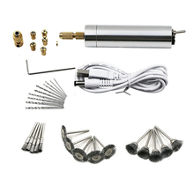 цена на Usb 3-12v Mini Electric Drill Hand Drill Motor Hole Saw Aluminum Mini Electric Diy Pcb With Drill For Wood Plastic Drilling 32pc
