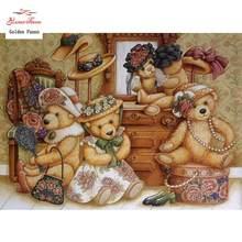 Nova 5d pintura diamante diy brinquedo urso família needlework praa de diamantes cruz ponto cheio mosaico pintura decoração da sua casa