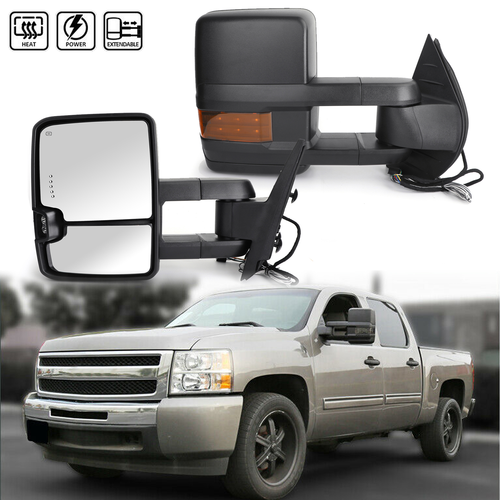 Replacement Driver and Passenger Set Manual Telescopic Tow Mirrors ...