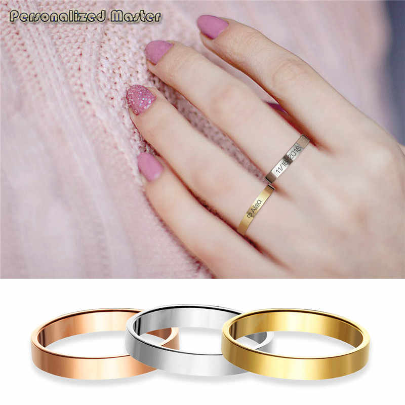 Personalized Master Custom Engrave Name Initial Location Coordinates Thin Stacking Stackable Knuckle Midi Ring Set with Size 5-8
