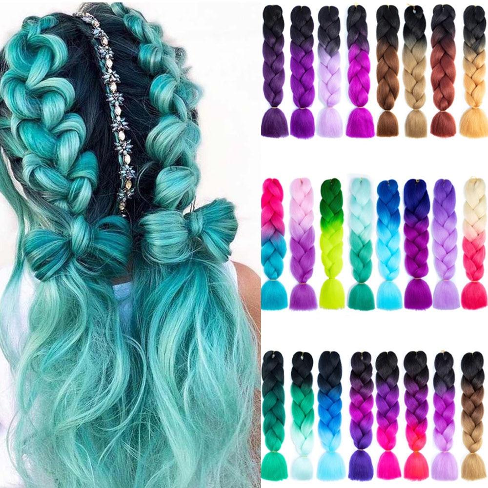 Jumbo Braids Hair Extensions Ombre Crochet Braiding Synthetic Hair Yaki Braiding Hair For Black Women Blond Red Pink Green