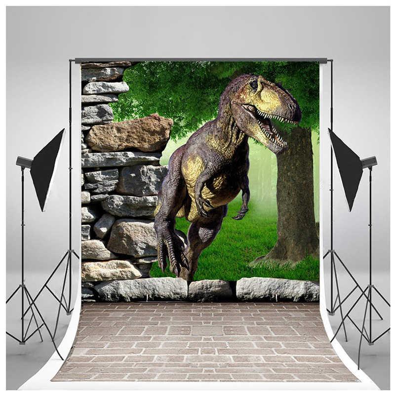 5x7ft 3D каменный пол, газон, камень, дерево, динозавр фотографии фон для фотосъемки на день рождения