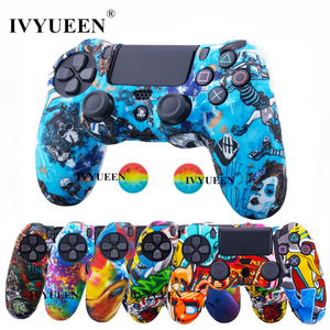 IVYUEEN for Sony Dualshock 4 PS4 DS4 Slim Pro Controller Silicone Camo Case Protective Skin + Thumb Grip Caps for PlayStation 4(China)