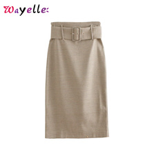 Plaid Skirts Women  Houndstooth with Belt Back Vents Office Ladies Midi Skirt Tide High Waist