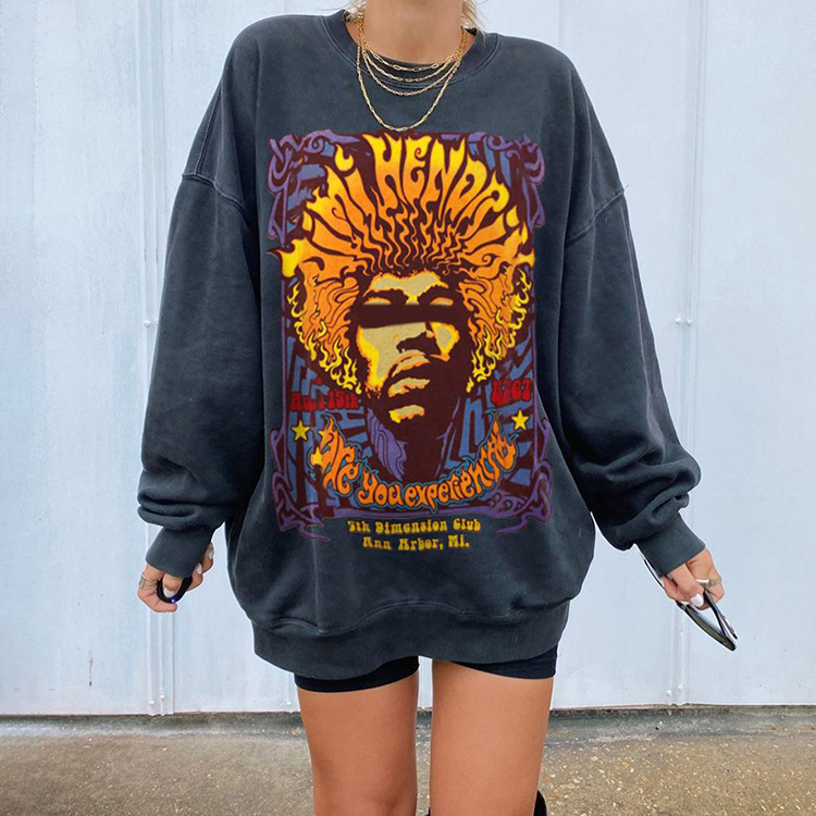 Vintage Totem Print Loose Stylish Young Girl Sweatshirt Women Tops Shirts 2020Autumn New Fashion Long Sleeve Plus Size Pullovers 8