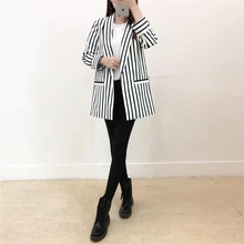 SZMALL France Newest Women Striped Straight Blazer Fashion Pockets Long Sleeve CardiganFemale Autumn Lady Outwear Clothes