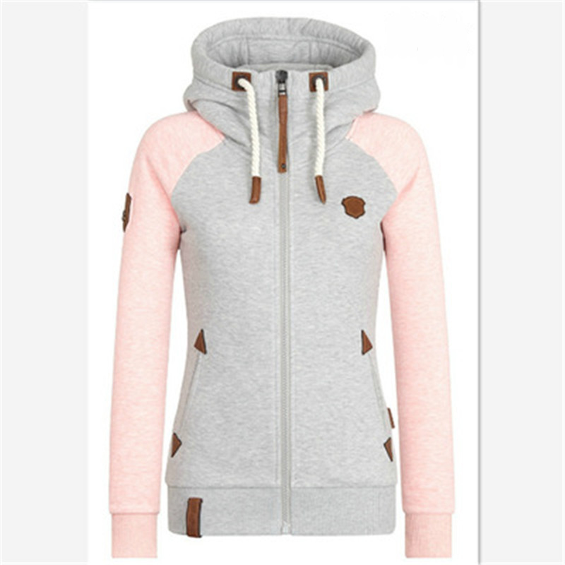 Autumn And Winter New Women's Jacket Personality Leather Card Hit Color Hooded  High Collar Large Size Women's Clothing
