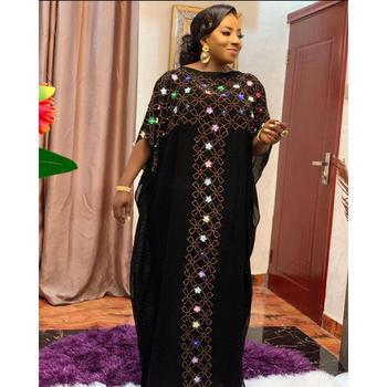 2020 New Chiffon Long Stick Diamond Free Size Sequin Dress For African Lady - ZH1, One Size