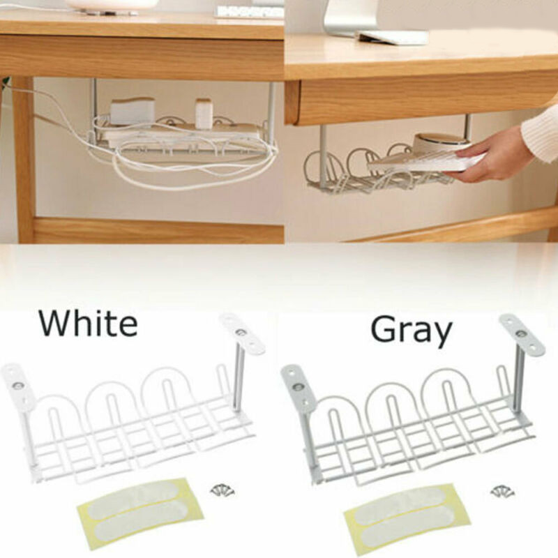 2020 Power Cord Rack At The Bottom Of The Table Under Desk Cable Management Tray Storage Organizer Wire Cord Power Charger Plugs