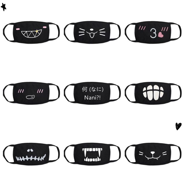 Cartoon mask on the mouth For dust and warmth anime mask Anti-fog mouth face mask dust masks Double cotton fabric facial mask 2