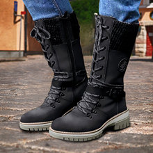 Women Mid-Calf Boots 2021 Winter Warm Punk Boots Side Zipper Boots Outdoor Non-Slip Boots Knitted Patchwork Ladies Booties Mujer