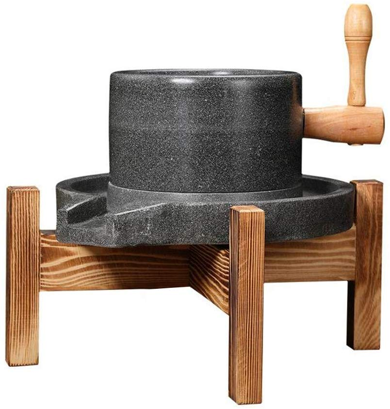 Natural Smooth Handmade Bluestone Mill/Grinder with Wooden Stand Used for Food, Grains, Spices
