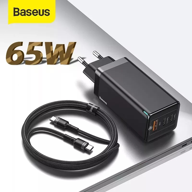 "Baseus 65W גן מטען פ""ד 3.0 מהיר USB מטען עבור iPhone 11 פרו מקס סמסונג S10 בתוספת תמיכה AFC FCP SCP QC 3.0 מהיר מטען"