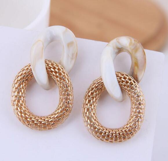 1 Pair New Women/'s Round Big Circle Vintage Metal Dangle Earrings Party Jewelry