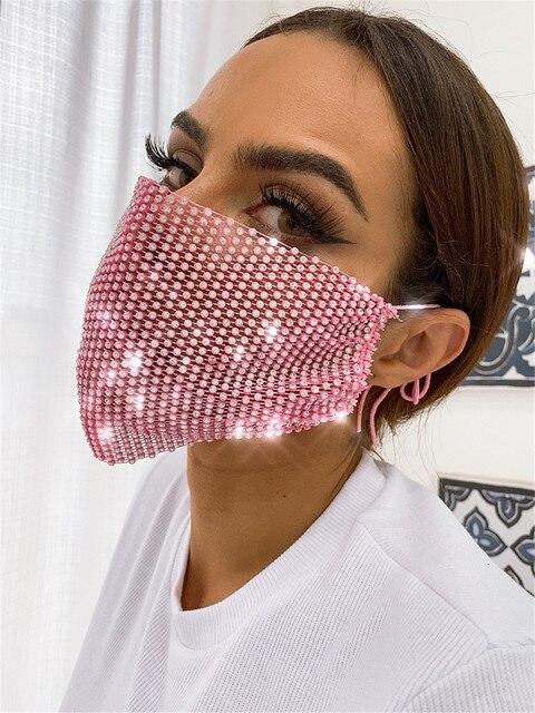 2020 Rhinestone Grid Masks Rhinestone Accessories Masks Makeup Party Fashion Masks Chic Ball Mask  Kpop Mask  Blackpink Kpop 4