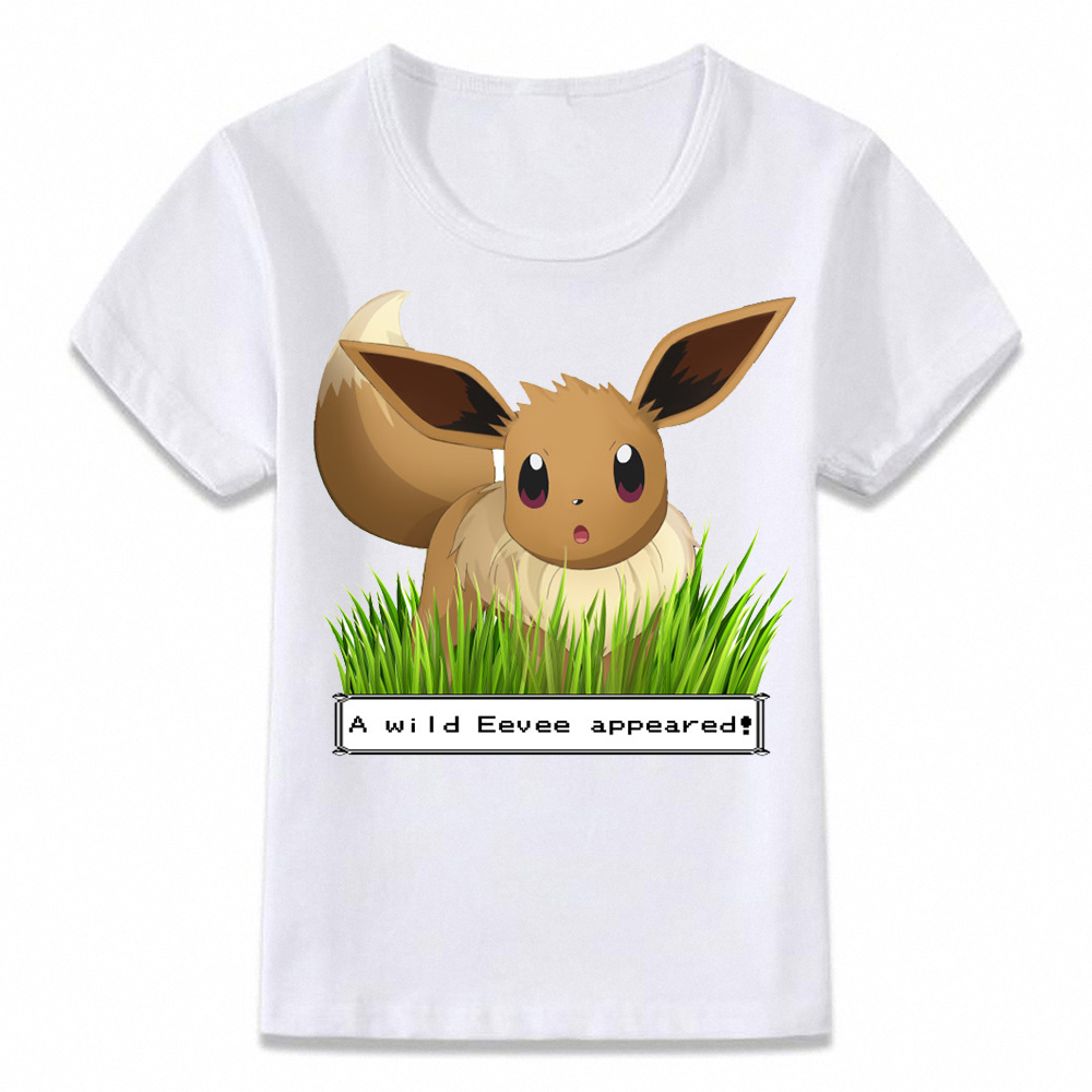 New Children Pokemon T Shirt Casual Cotton Baby Boy Girl Eevee Pikachu Print T-shirt Kids Clothes Teen Short Sleeve Tee Top Gift image