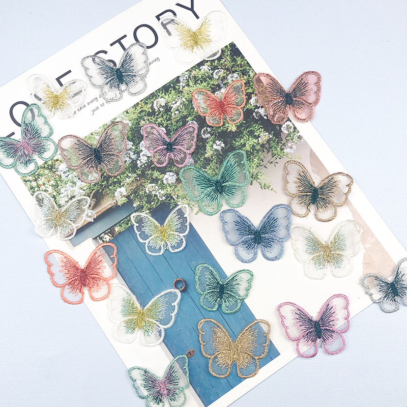 10 шт. тканевые наклейки с вышивкой бабочки цветная органза нашивка для одежды ткань «сделай сам» Аксессуары для одежды ручной работы декора...