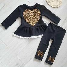 Комплекты одежды для новорожденных девочек От 1 до 6 лет с леопардовым принтом, кружевные топы с длинными рукавами и штаны Зимняя одежда 2 предмета