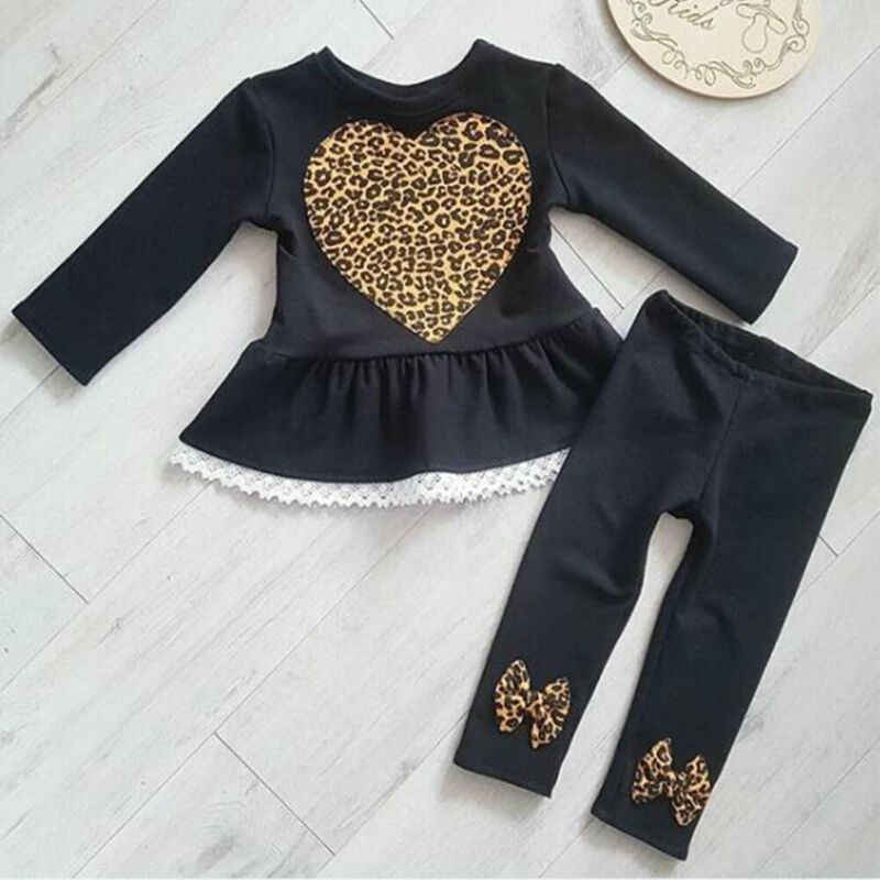 Newborn Baby Girls Clothes Sets 1-6Y Leopard Print Lace Long-Sleeved Love Tops Trousers Pants Winter Clothes 2PCS