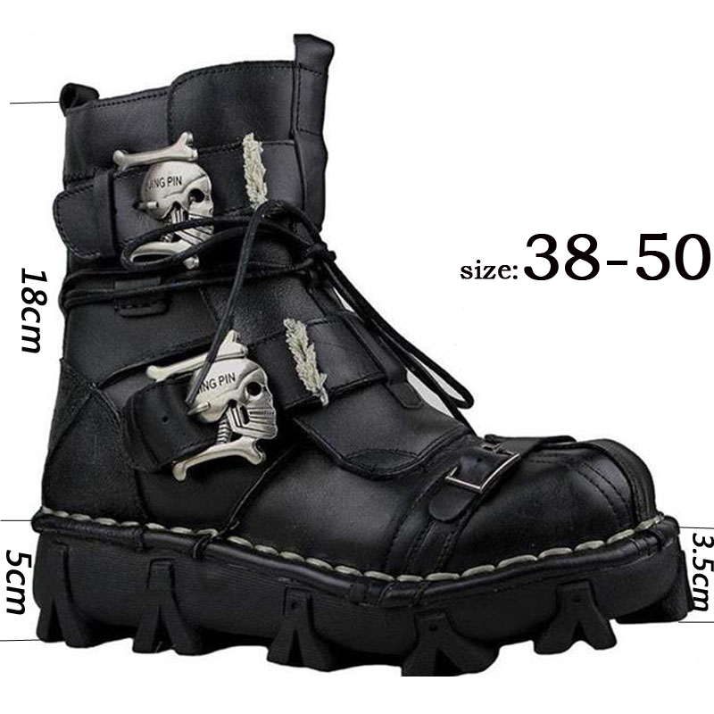 Men's Genuine Leather Skull Gothic Punk Combat Boots Motorcycle Boots Cowhide Genuine Leather Work Boots Martin Boots Military