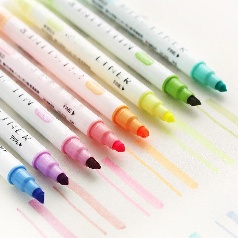 12 Pcs/set Cute Japanese Stationery Zebra Mild Liner Double Headed Fluorescent Pen Milkliner Pen Highlighter Pen Mildliner