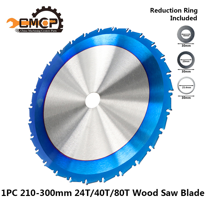 1pc 210 250 255 300mm Circular Saw Blade Nano Blue Coated TCT Saw Blade 24T 28T 40T 80T Carbide Wood Cutting Disc